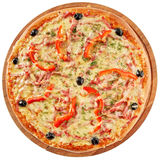 Klassieke pizza met tomaten, Spaanse peper en kruiden Royalty-vrije Stock Afbeelding