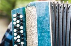 Klassieke retro bayan harmonika, muzikaal instrument stock afbeelding