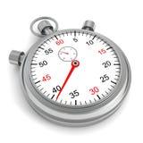Klassieke retro zilveren chronometer op witte achtergrond Stock Foto