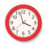 Klassieke rode ronde die muurklok op wit wordt geïsoleerd Vector illustratie vector illustratie