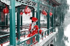 Retro schoonheid in China. stock afbeeldingen
