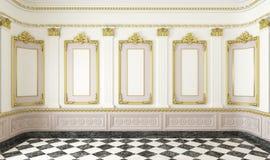 Klassieke stijlruimte met gouden Stock Foto