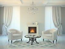 Klassieke stijlruimte met open haard en leunstoelen het 3D teruggeven Royalty-vrije Stock Afbeeldingen