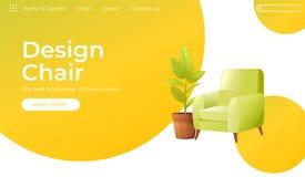 Klassieke Stoel voor uw banner van het huis binnenlandse ontwerp Het landen Paginawebsite conept Comfortabele leunstoel met een i stock illustratie