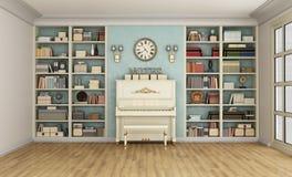 Klassieke woonkamer met pianino en boekenkast Stock Foto