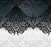 Klassieke zwarte & witte uitstekende uitnodigingsachtergrond Stock Foto