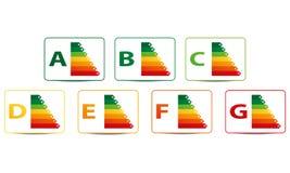 Klassifikation des Energieverbrauchs stockbilder