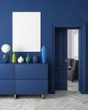 Klassiker för färginre för modern scandinavian stil mörkblå åtlöje upp illustrationen 3d framför stock illustrationer