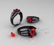 Klassiker svarta guld- Ruby Diamond Engagement Rings royaltyfri fotografi