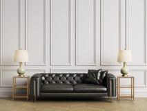 Klassiker tufted soffa, sidotabeller och lampor i klassisk interiror med kopieringsutrymme stock illustrationer