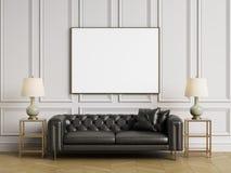Klassiker tufted soffa, sidotabeller och lampor i klassisk interiror med kopieringsutrymme royaltyfri illustrationer