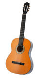 Klassische Akustikgitarre lokalisiert auf einem weißen Hintergrund Stockfotografie