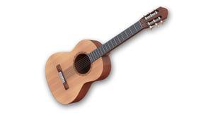 Klassische Akustikgitarre, Musikinstrument lokalisiert auf weißem Hintergrund Stockbild