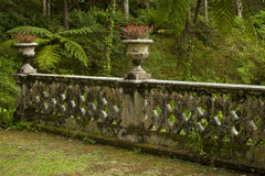 Klassische alte Balustrade im botanischen Garten Furnas Stockfotografie