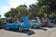 Klassische amerikanische Autos in einer perfekten Reihe Stockbild