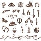 Klassische Ausrüstung im Freien für Abenteuer Stockbild