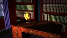 Klassische Bibliothek mit alter Kugel stock footage