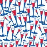 Klassische Champagnergläser vector nahtloses Muster, Alkohol bever stock abbildung