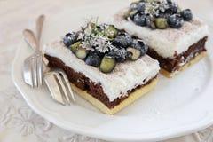 Klassische Chester Cake-Scheiben mit Blaubeeren und Koriander blühen Stockbild