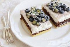 Klassische Chester Cake-Scheiben mit Blaubeeren und Koriander blühen Lizenzfreie Stockbilder