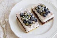 Klassische Chester Cake-Scheiben mit Blaubeeren und Koriander blühen Lizenzfreie Stockfotos