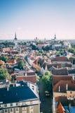 Klassische Dachspitzen in Tallinn Estland lizenzfreie stockfotografie