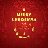 Klassische dunkelrote modische erstklassige elegante Karte der frohen Weihnachten Stockfoto