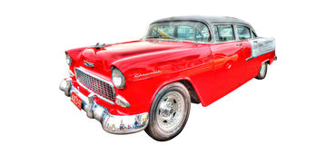 Klassische fünfziger Jahre amerikanisches Auto lokalisiert auf weißem Hintergrund Lizenzfreie Stockfotos