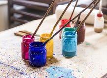 Klassische Farbenwerkzeuge Stockfotografie