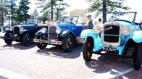 Klassische Hupmobile-Autos in Napier, Hawkes-Bucht in Neuseeland Lizenzfreie Stockbilder