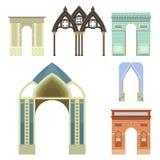 Klassische Illustration des Bogenvektorarchitekturbaurahmenspalteneingangs-Designs Stockfoto