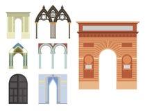 Klassische Illustration des Bogenvektorarchitekturbaurahmenspalteneingangs-Designs Stockfotos