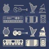 Klassische Instrumentikonen der Linie und der Musik des Schattenbildes Stockfotos