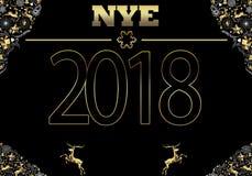 Klassische Karte 2018 des neuen Jahres Stockfotografie