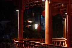 Klassische lange Korridor-Ruzi Pavillon-Parknacht Lizenzfreies Stockbild