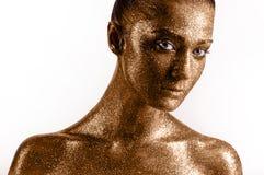Klassische Lippen der Mode Gold Stockfotos