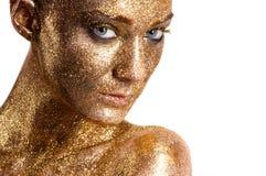 Klassische Lippen der Mode Gold Lizenzfreie Stockfotografie