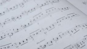 Klassische Musik-Blatt stock footage