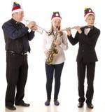 Klassische Musik des Spiels mit drei Musikern lizenzfreie stockfotos