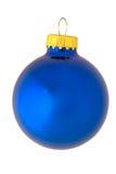 Klassische reflektierende blaue Weihnachtsverzierung Stockfotos