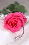 Klassische rosafarbene Rose und Schmucksachen Stockbilder