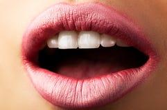 Klassische rote Lippen Stockfoto