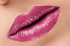 Klassische rote rosa Lippen der Mode stockbilder
