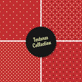 Klassische rote strukturierte Polka Dot Seamless Different Patterns Lizenzfreie Stockfotos