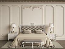 Klassische Schlafzimmermöbel im klassischen Innenraum Wände mit mouldin lizenzfreie abbildung