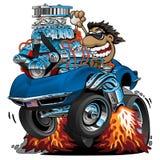 Klassische Sport-Auto-Karikatur, lustiger Fahrer, lokalisierte Vektor-Illustration vektor abbildung