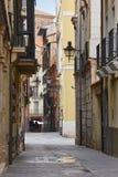 Klassische Straßenfassaden in Teruel Spanien-arquitecture tourismus lizenzfreie stockbilder