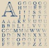 Klassische Typografy-Vektor-Schmutz-Charaktere Stockfoto