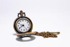 Klassische Uhr auf weißem Hintergrund Stockbilder