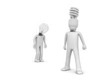 Klassische und Energiesparende Lampen Stockfotos